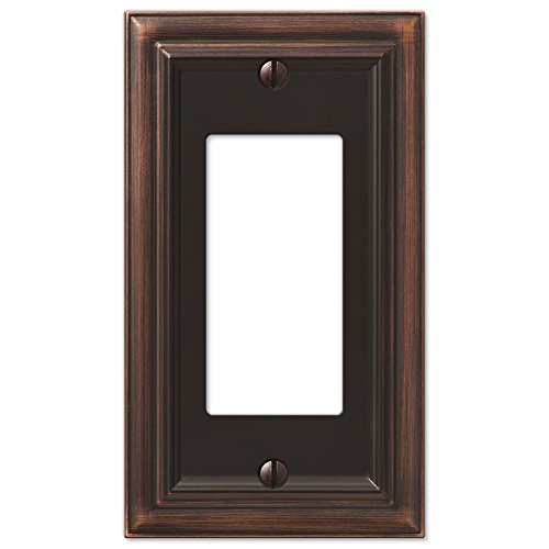 - Amerelle Continental Single Rocker Cast Metal Wallplate in Aged Bronze
