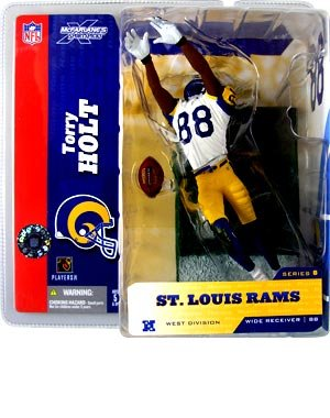 Variant Figure Series - McFarlane Toys NFL Sports Picks Series 8 Action Figure Torry Holt (St. Louis Rams) White Jersey #88 Yellow Pants Retro Variant