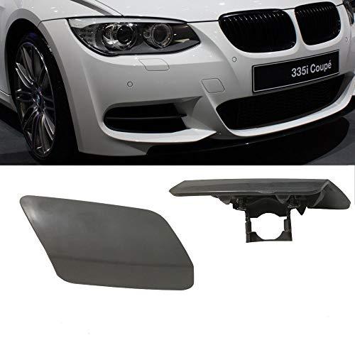 (Ricoy Front Bumper Headlight Washer Cover Cap Unpainted Bumper Trim Primered For BMW 2011-2014 E92 E93 3-Series 328i 335i LCI)