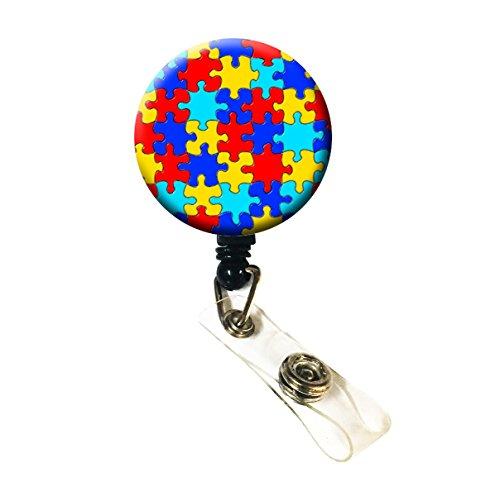 Awareness Badge - WigsPedia Retractable Name ID Badge Holder Reel/ID Badge Holder - Autism Awareness Puzzle (Alligator Clip)