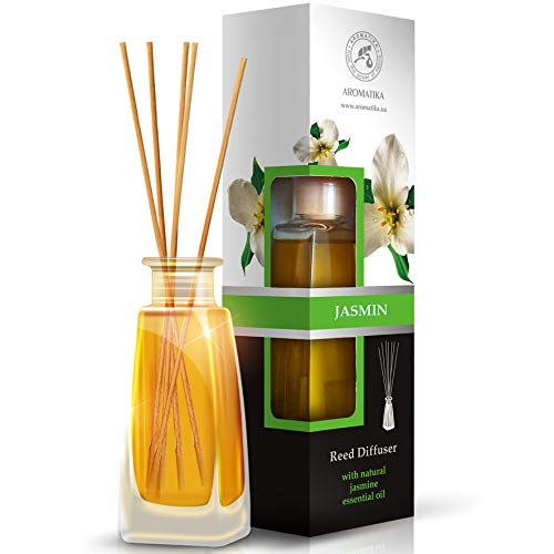 Aromatika Jasmine Reed Diffuser 100ml - Diffuser Gift Set - Best for Aromatherapy - Home - Great Room Air Fresheners - Jasmin Essential Oil Diffuser