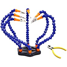 CloverTale Third Hand Soldering PCB Holder Tool Six Arms Helping Hands Crafts Workshop Helping Station Non-slip Aluminum Base Wire Cutter Plier