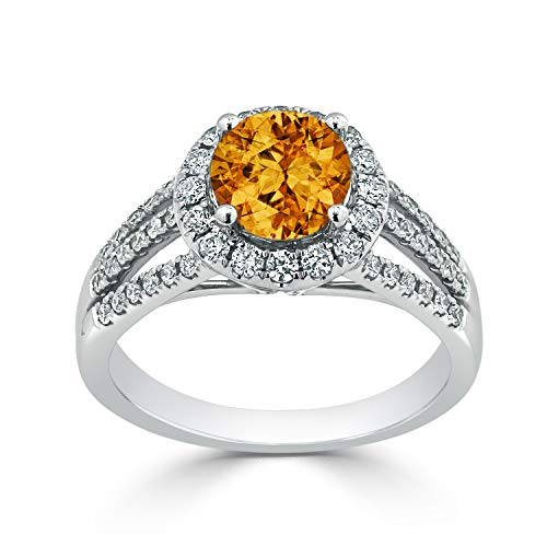 Citrine Ring Diamond Tdw - Diamond Wish 14k White Gold Halo Diamond Engagement Ring with 1 3/8 ct Round-Cut Citrine Gemstone and 3/8 ct TDW, Size 6