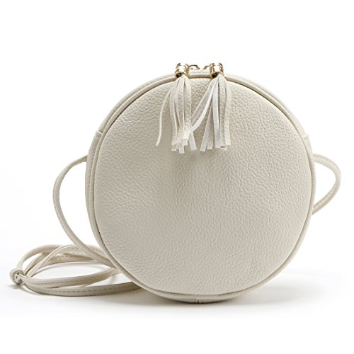 DukeTea Small Circular Crossbody Purse for Teen Girls, Mini Crossover Phone Shoulder Bag for Women White (Shoulder Purses For Teens)