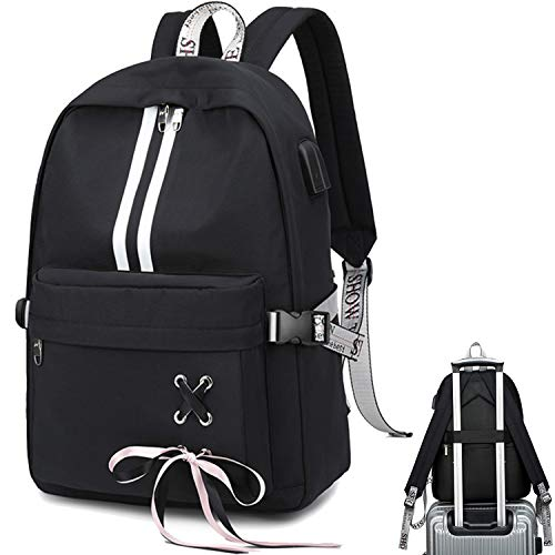 CAMTOP School Laptop Backpack USB College Backpack Casual Travel Daypack with Luggage Strap for Women Girls Black-3