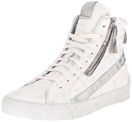 Diesel Women's D-Velows D-String Plus W Fashion Sneaker, White/Silver, 9 M US