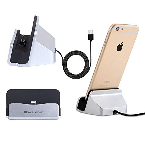 okaccessories iPhone Charger Dock ,Desktop Charger Station,Charging Stand Cradle Lightning Magneti Dock Base Fast Charging for iPhone X 8 7 7 Plus 6 6S Series