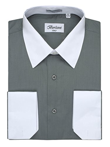 Men's Charcoal Two Tone Dress Shirt w/ Convertible Cuffs - XXLarge 34 /35 (Barrel Cuff Dress Shirt)