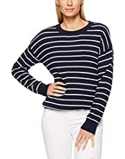 French Connection Women's Stripe Crew Neck Knit, Nocturnal/Summer White