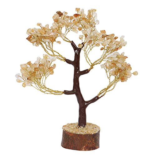 (FASHIONZAADI Citrine Stone Feng Shui Bonsai Money Tree for Chakra Balancing Good Luck EMF Protection Healing Table Décor Health Prosperity Size 10-12 inch (Golden Wire) )