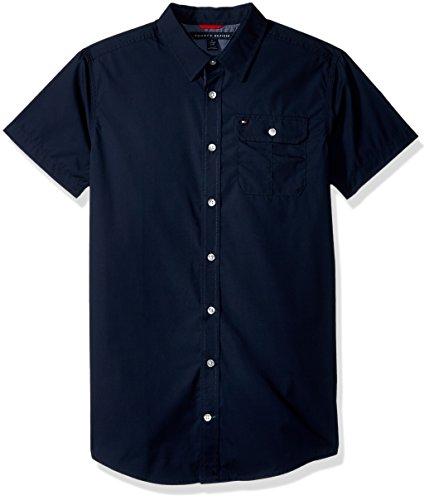 Tommy Hilfiger Boys' Little Short Sleeve Solid Shirt, Swim Navy, 6