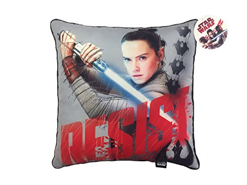 Star Wars Ep 8 Resist Gray/Red Plush Decorative Toss/Throw Pillow with Rey