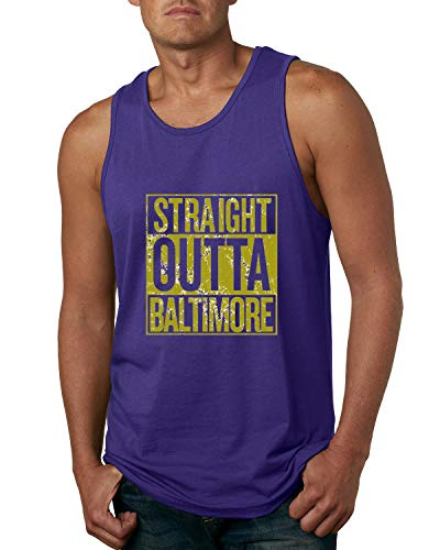 Straight Outta Baltimore BAL Fan | Fantasy Football | Mens Sports Graphic Tank Top, Purple, X-Large