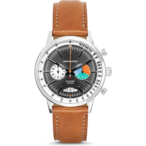 Jack Mason Racing Chronograph Stainless Steel Grey Dial Tan Leather Strap JM-R402-007