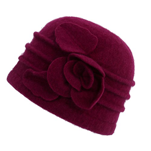 Dantiya Women's Winter Warm Wool Cloche Bucket Hat Slouch Wrinkled Beanie Cap with Flower; Wine Red; One Size