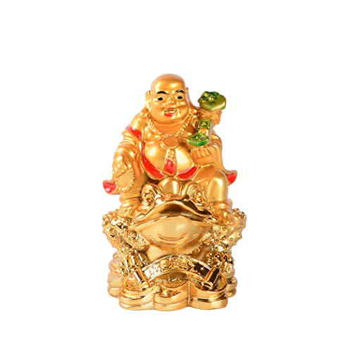 Resin Golden Laughing Buddha Sitting on Money Frog Statue Feng Shui Wealth Lucky Gift Decoration (C)