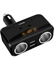 Car Charger Adapter, 2 Socket Cigarette Lighter Power& Dual USB Outlet Splitter with 12/24V Voltage Display Compatible for iPhone,ipad,Tablet,Galaxy,HTC,LG (Black)