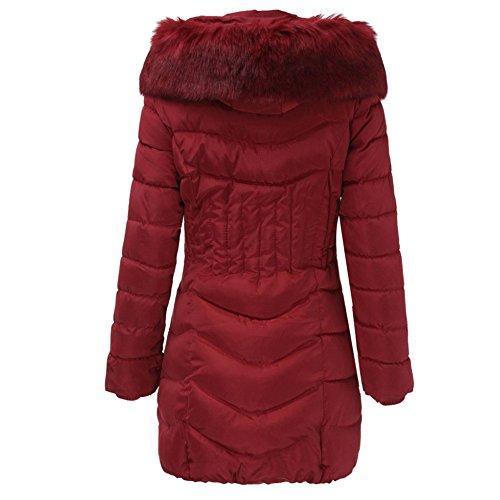 Trench Manteau Hiver Veste Magiyard Femmes Manteau Mode Longue Coton Rouge Chaud Vin Slim Outwear 1wwxv85qZ