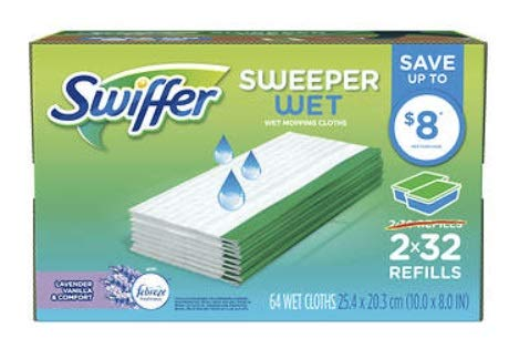 Shabbos Sweeper Lavender, Vanilla & Comfort Wet Mopping Cloths, 64 ct.