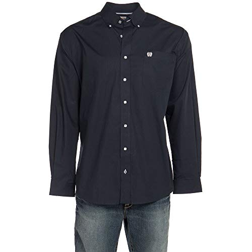 Cinch Men's Classic Fit Long Sleeve Button One Open Pocket Solid Shirt, Navy, X-Large from Cinch