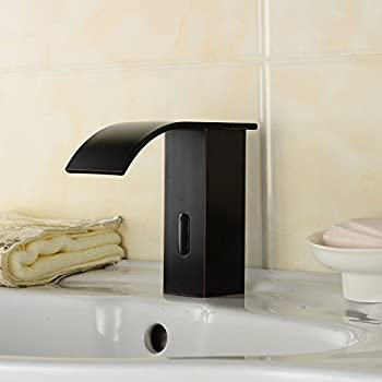 Waterfall Oil Rubbed Bronze Touch Free Automatic Sensor Tap Sink Hot ...