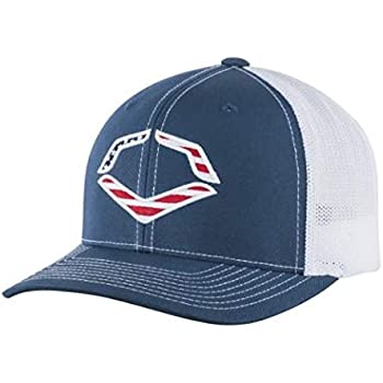 f0dc99c7 Wilson Sporting Goods Evoshield USA Logo Flexfit Trucker Hat, Navy,  Large/X-Large(7 3/8-7 5/8)
