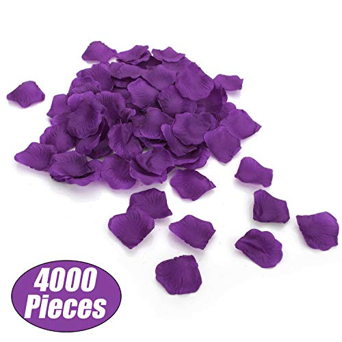 Aspire 4000 Pieces Silk Rose Petals, Artificial Flower Confetti for Wedding Party Gift Decoration-Dark ()