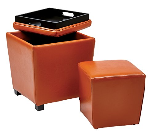 Office Star Metro Vinyl 2-Piece Storage Ottoman Nesting Cube Set with Dark Espresso Finished Feet, Orange