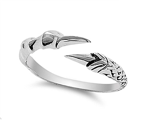- CloseoutWarehouse Sterling Silver Eagle Claw Ring Size 10