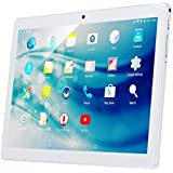 10 Inch 3G Phablet Android 7.0 Quad Core 32GB ROM 2GB RAM Call Phone Tablet PC, Unlocked Dual Sim Card Slots, Bluetooth, GPS, WiFi, Netflix YouTube Resolution 1920X1080 Display IPS Screen (Silver)