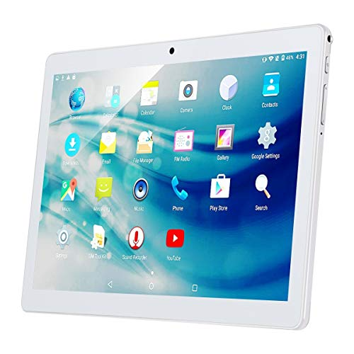 (10 Inch 3G Phablet Android 7.0 Quad Core 32GB ROM 2GB RAM Call Phone Tablet PC, Unlocked Dual Sim Card Slots, Bluetooth, GPS, WiFi, Netflix YouTube Resolution 1920X1080 Display IPS Screen (Silver))