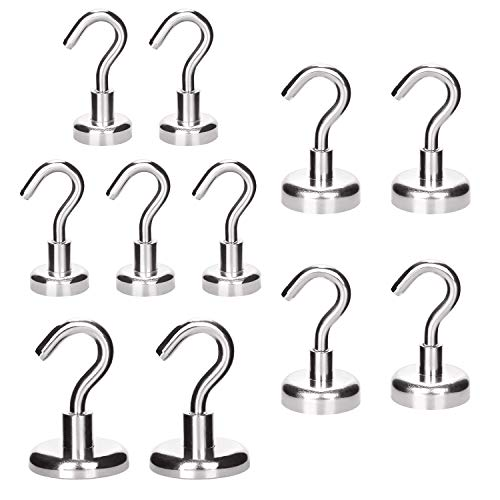(RONRI Magnetic Hooks Heavy Duty 18LB 49LB 75LB, Strong Magnetic Hooks with Magnet Neodymium Hook for Home/Kitchen/Factory/Workplace/Office/Garage with Strong Corrosion Protection, 10 Pack)