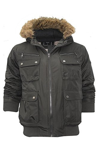 Para hombre Brave Soul de piel sintética con capucha trim resistente al agua MA1Bomber o Parker chaqueta Verde Oliva