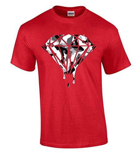 icustomworld Diamond White Camo T-shirt Camouflage Dripping Melting Logo Shirts XL Red