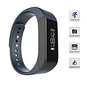 Fitness Tracker,Tigerhu Smart Pedometer Bracelet Bluetooth 4.0 Wireless Activity Sleep Monitor Tracking Calorie Health Wristband for Android IOS 7.0/8.0/8.1 and Iphone 6/6Plus/7/7Plus/ 8/8Plus(Blue)