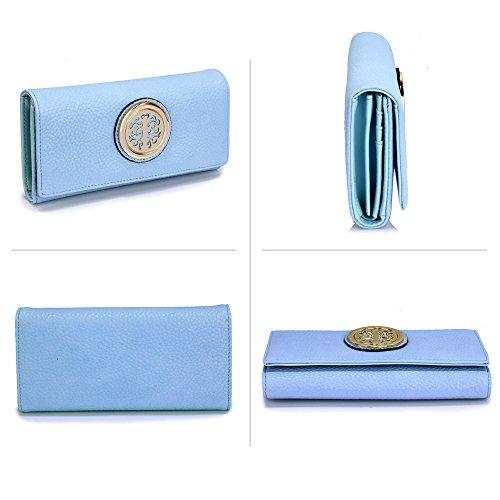 ANNA GRACE - Cartera de mano de piel sintética para mujer Design 2 - Blue