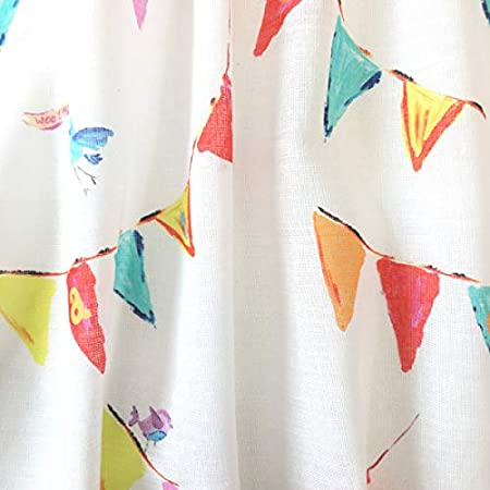 Tela por metros de cortina - Visillo estampado digital - 15% lino, 85% algodón - Ancho 300 cm - Largo a elección de 50 en 50 cm | Banderines de colores: Amazon.es: Hogar