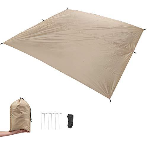 MAGARROW 9.5x9.5ft Waterproof Lightweight Camping Tent Tarp Canopy Shelter Footprint Ground Sheet Beach Mat (Tan)