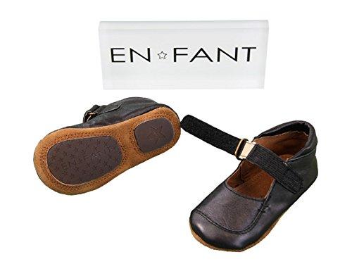 Ballerine Avant Chaussure pied Doux De 815055 Filles De Velcro En Fermeture Cuir Enfant Noir AqwRw5Efx