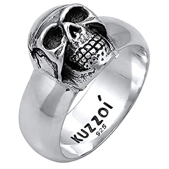 Kuzzoi Totenkopf Herrenring, in 925 Sterling Silber, schwarz oxidiert mit Gravur