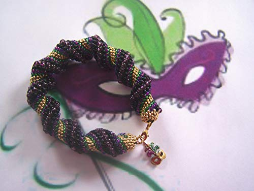 Mardi Gras Bracelet Cellini Spiral Beadweaving