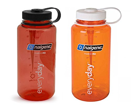 Nalgene 32 ounce (32oz) Wide Mouth (WM) Water Bottle - Combo Red and Orange - Set of 2