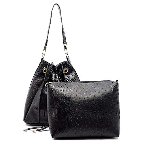 Republic Handbag Bag Pleated Inner Embossed Black w Crossbody Hobo Ostrich drqrZg