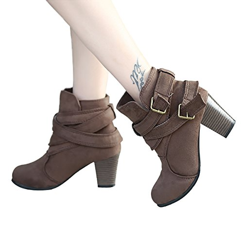 Women for Winter Buckle Dress Autumn Stacked Ankle Low Boots Faux Booties Suede Light Inornever Brown Toe Heel Round wYqUXIxx5