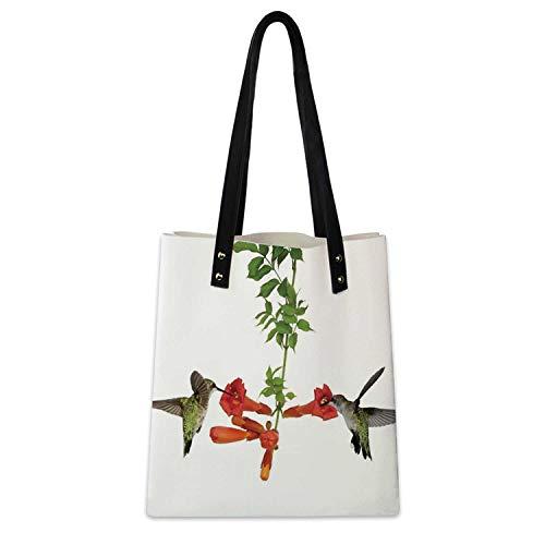 Hummingbirds Decor Soft Handbag Two Hummingbirds Sip for Travel