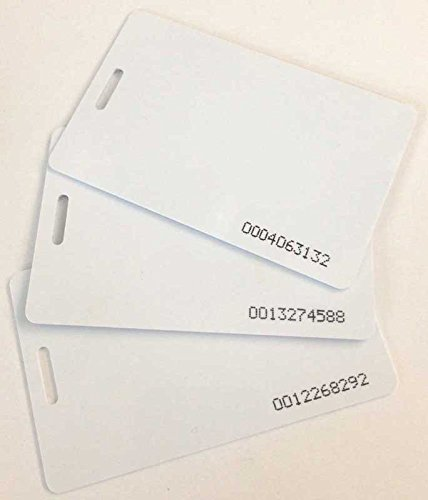 uAttend compatible proximity badge cards, 20 pack (RFID 125 KHz thin ISO 0.8 mm), works with CB5000 / CB5500 / CB6000 / CB6500 / MN1000 / MN2000 clock models