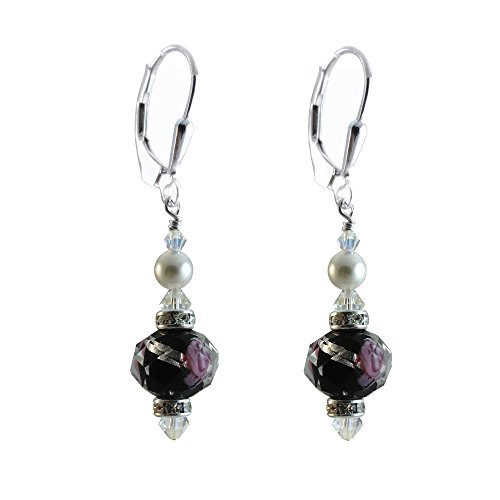 Black Lamp-work Glass Earrings Made with Swarovski Crystal Elements. Sterling Silver (Lampwork Crystal Sterling Earrings)