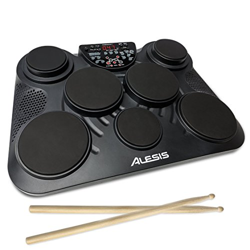 Alesis Compact Kit 7 | Portable 7-Pad Electronic Table-top Drum Kit with 265 Drum Sounds, USB-MIDI Output, Battery- or AC-Power and Drum Sticks Included