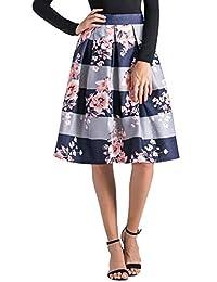 Alinfu falda plisada floral de cintura alta jacquard para dama