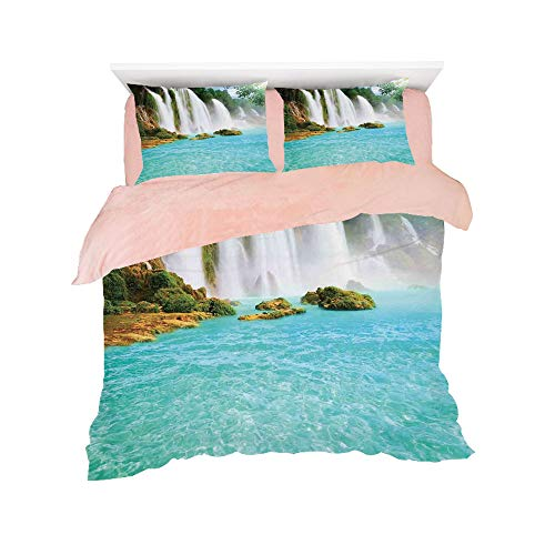 All Season Flannel Bedding Duvet Covers Sets for Girl Boy Kids 4-Piece Full for bed width 4ft Pattern Customized bedding for girls and young children,Waterfall,Ban Gioc Detian Cascade in the Forest Tr